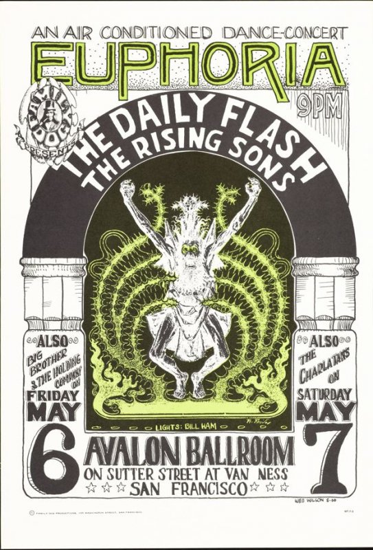 """Euphoria,"" Daily Flash, Rising Sons, Big Brother & the Holding Company, Charlatans, May 6 & 7, Avalon Ballroom"
