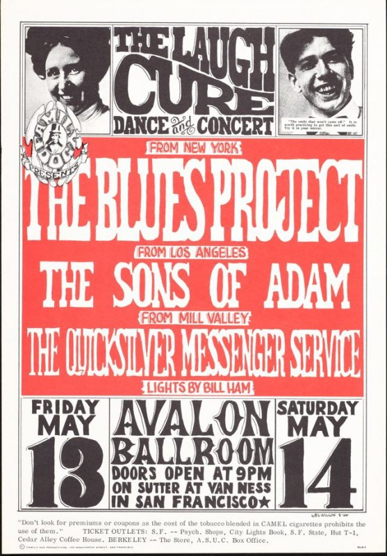 """""""Laugh Cure,"""" Blues Project, Sons of Adam, Quicksilver Messenger Service, May 13 & 14, Avalon Ballroom"""