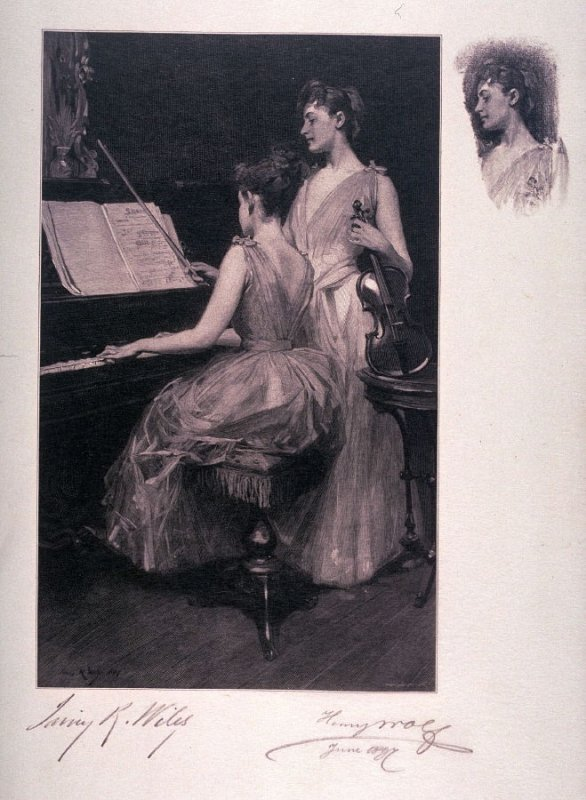 The Sonata, after the painting by Irving Ramsay Wiles in the Fine Arts Museums of San Francisco (1985.7)