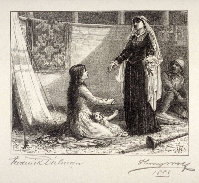 [Scene with woman and child on the ground]