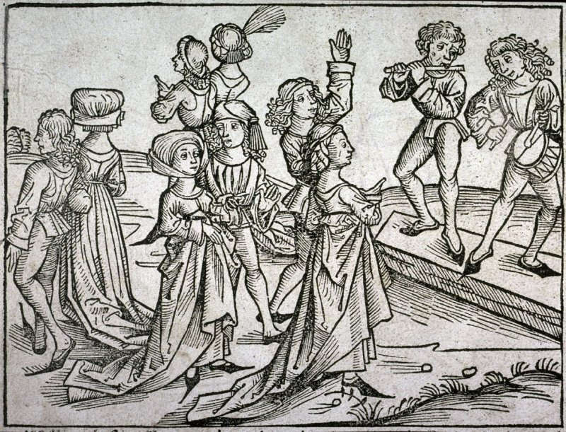 [Dancers and musicians in the country], from the Nuremberg Chronicle