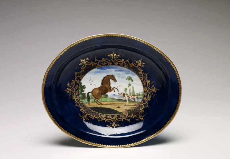 Horse and Hound Oval Dish