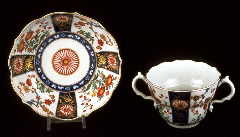 Two-handled chocolate cup and saucer