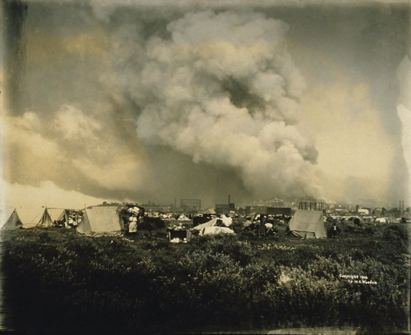 An Awe-Inspiring View of the Burning City from a Hastily Improvised Campsite West of Van Ness Avenue and Fort Mason, in the District Now Known as the Marina