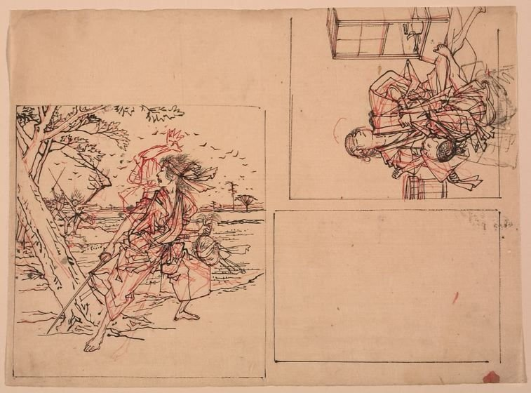 Untitled (Two Drawings, One Warrior, One Interior Scene)