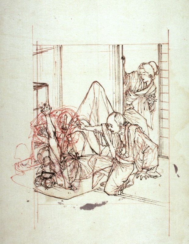 Murder Scene, a study for an unexecuted print