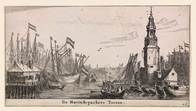 The Haringpakkers Tower in Amsterdam, right a flotilla of herring-busses, from the series of Various Ships and Views of Amsterdam, part I