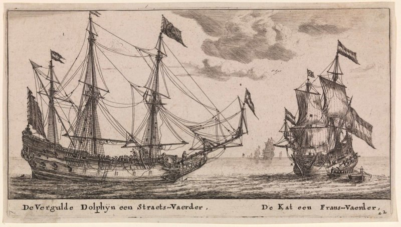 The 'Vergulde Dolphyn' a Largte Merchant Vessel and the 'Kat' a Flute