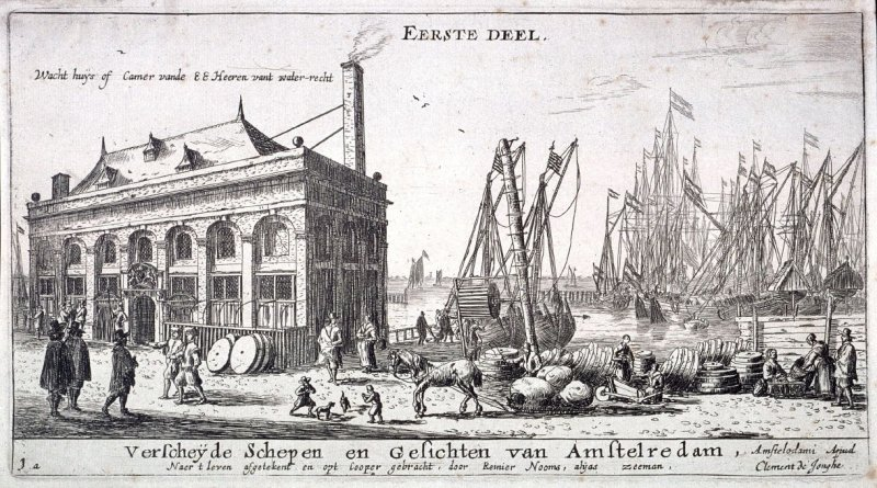 View of the Port of Amsterdam with the Office of the Water Authority, Title Page for Part I of Various Ships and Views of Amsterdam