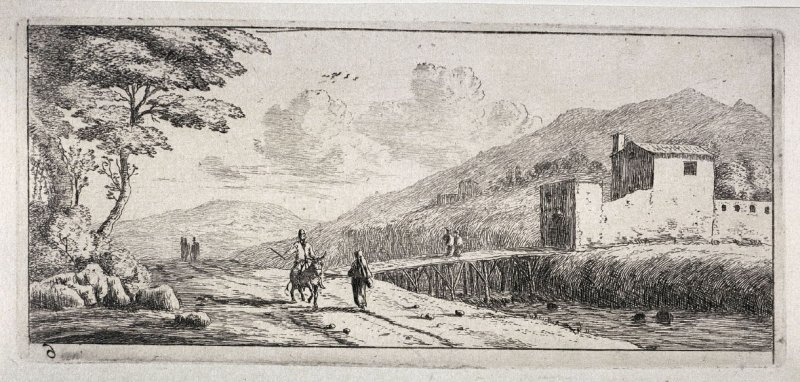 Hilly Landscape with Rider on a Donkey