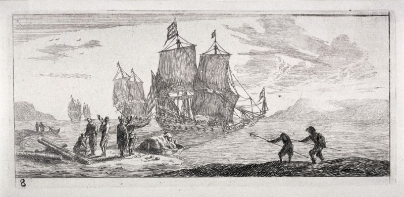 Four Large Sailing Vessels in a Bay