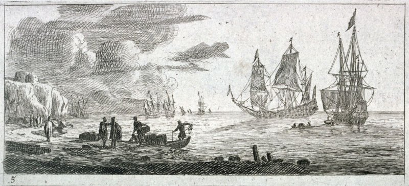 Seaport with Two Large Sailing Vessels