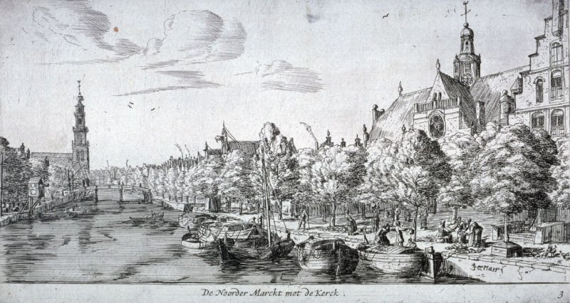 The Noorder Markt with the Noorder Church, seen from the 'Brouwersgracht' towards the 'Westerkerk' in left background, Amsterdam
