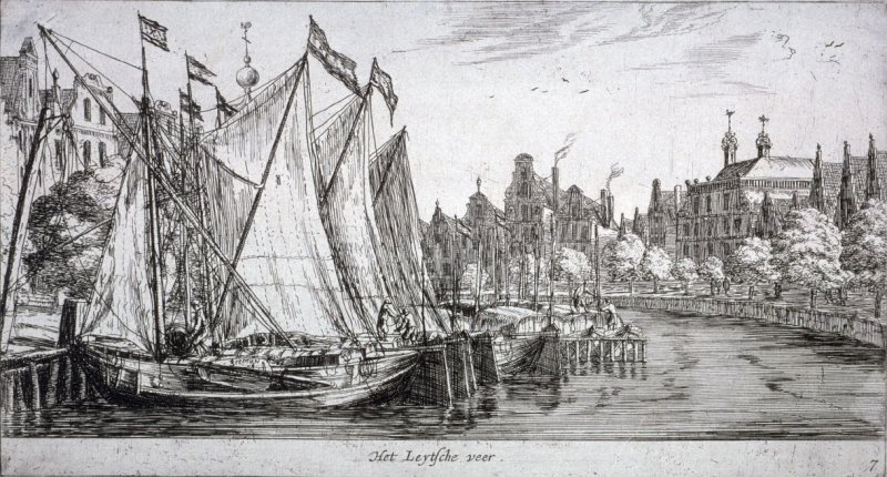The Ferry to Leiden, on the 'Singel', between 'Heiligeweg' and the 'Munt', at the right the house of Joan Huydecoper, Amsterdam