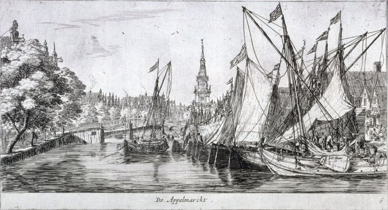 The Apple Market, in background the so-called 'Jan Roderpoort tower', Amsterdam