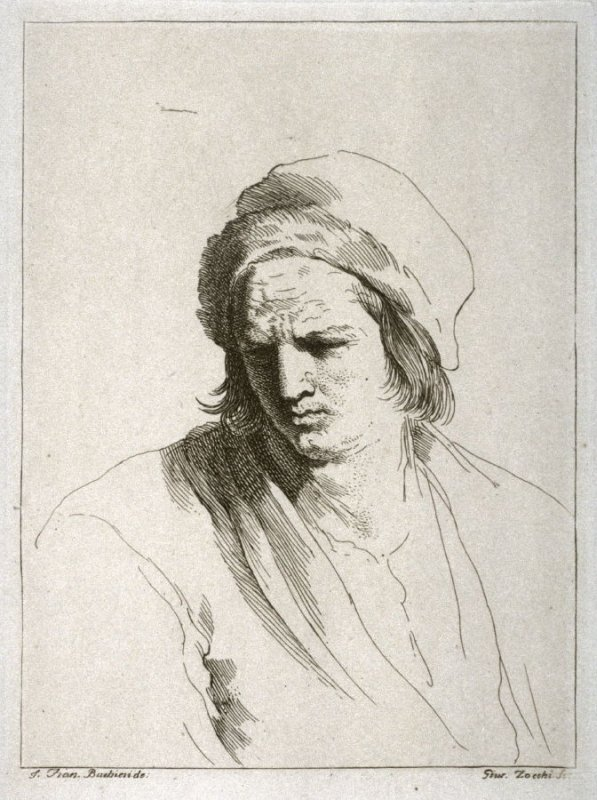Head of a Man in a Hat, after Guercino
