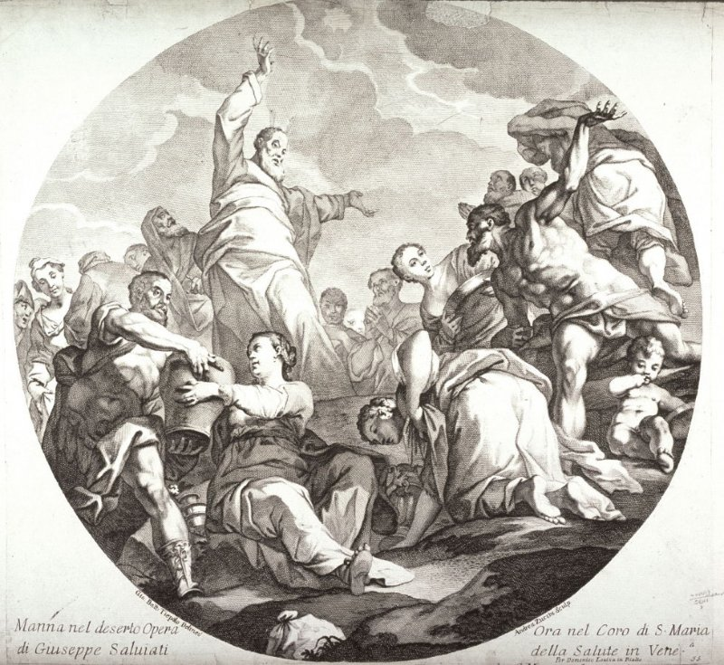 The Manna in the Desert, after a drawing by Tiepolo of the painting by G. Salviati for S. Maria della Salute, Venice